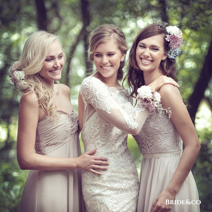 A neutral #wedding palette is natural and unfussy. Milky whites, tea-stained ivories, and tawny #taupes are #stylish and set just about any scene, from romantic and rustic to minimalist and sleek.  What would a #wedding be without your #bridesmaids to share it with? Click to book a free fitting at Bride&co.  #weddingdress #olegcassini #lace #neutralwedding