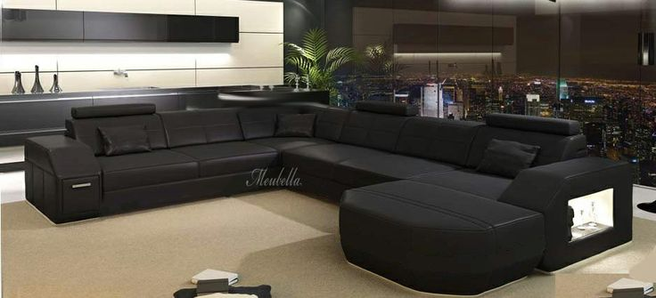 Design hoekbank gemaakt van kunstleer (Santos leer)  Hoekbank Aliveri is een design bank met
