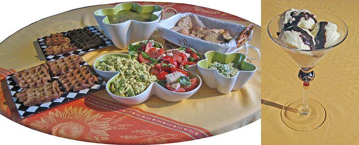 Minibuffet; groentesoep met vegan ballen, aardappelwafels, groene asperges vegan eieren salade, tomaat basilicum vegan mozzerella salade, stokbrood, vegan kruiden-roomboter, ananas kokos ijs met vegan chocohazelnootpasta