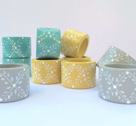 Wood Napkin Rings Hand Painted Scandinavian French by ShopOnALark #farmhouse #scandinavian #homedecor #kitchen #turquoise #yellow #gray