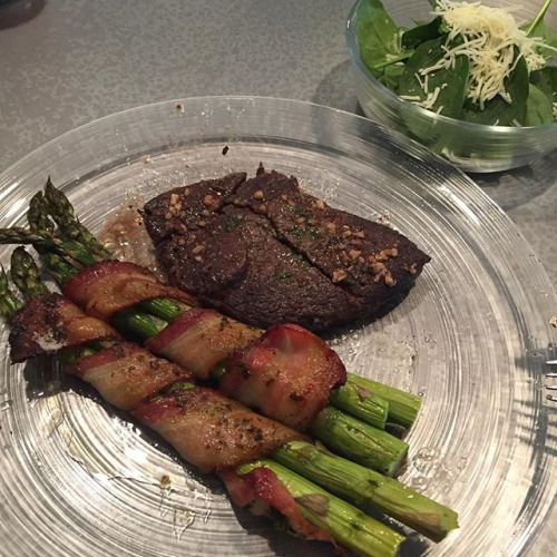 Steak asparagus wrapped in bacon and salad for dinner! #keto #lchf #grassfedbeef #ketogenic #ketoweightloss - Inspirational and Motivational Ketogenic Diet Pins - Eat Keto Get Into Nutritional Ketosis - Discover LCHF to Prevent Diseases - Enjoy Low-Carb High-Fat Lifestyle For Better Health