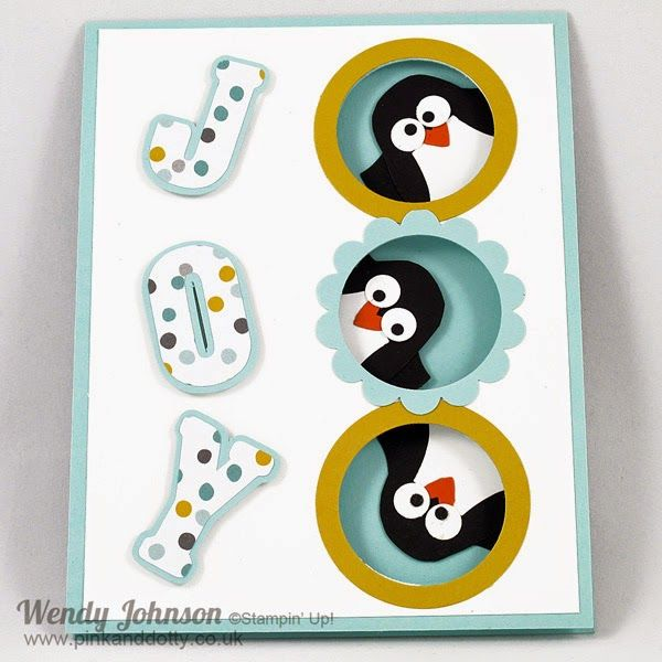 Stampin' Up! ... Peeking Penguins Christmas Card ... super cute use of owl punch ... portholes with bird heads ... fun JOY sentiment cut with Silhouette machine ... great card
