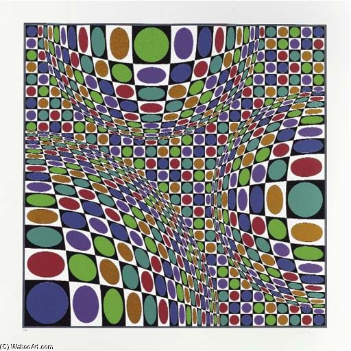 Victor Vasarely >> Abstract composition 4  |  (Oil, artwork, reproduction, copy, painting).