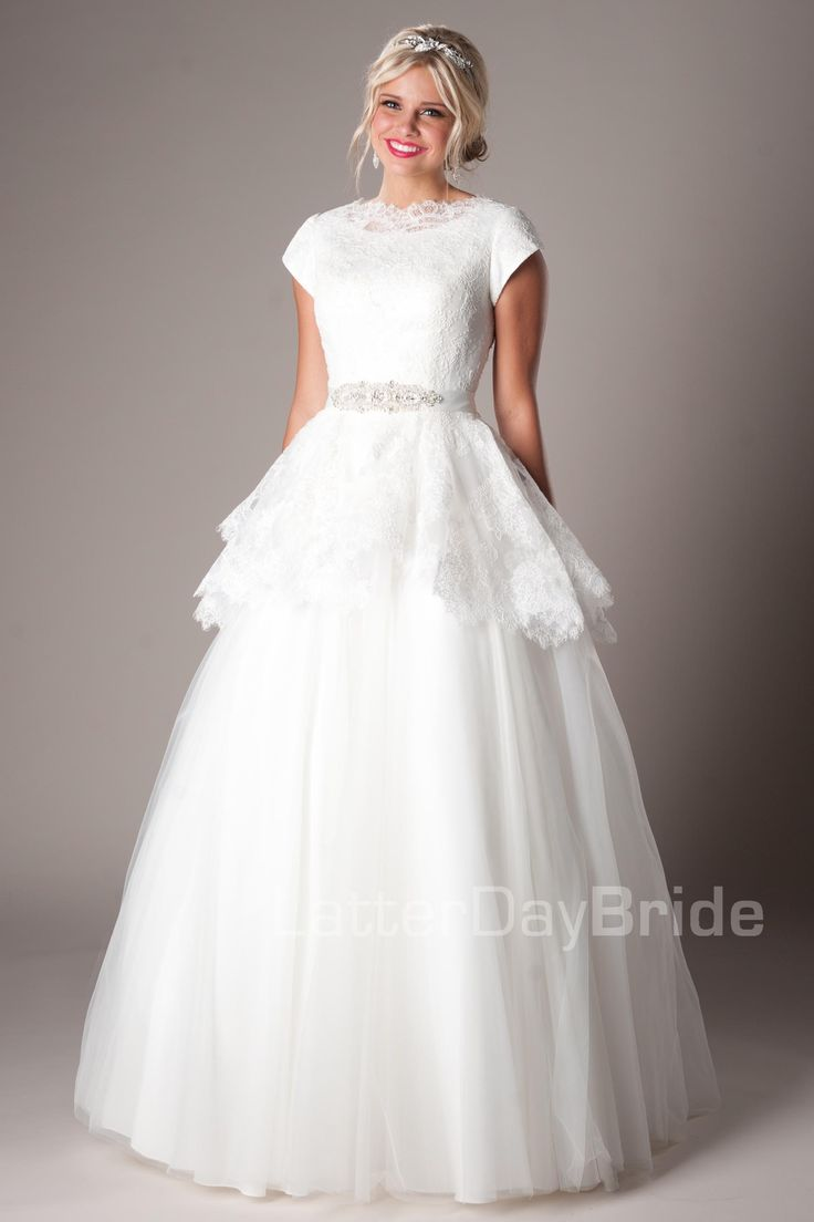 Golding modest wedding dress latter day bride prom for Mormon temple wedding dresses