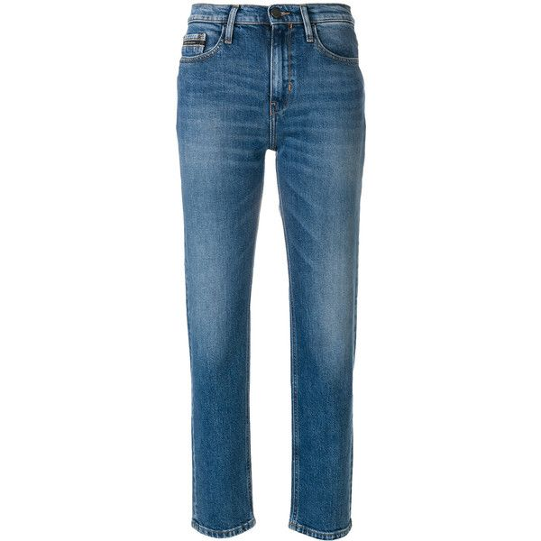 Ck Jeans straight leg jeans (36.830 HUF) via Polyvore featuring jeans, blue, zipper fly jeans, zipper jeans, 5 pocket jeans, mid rise straight leg jeans and button-fly jeans