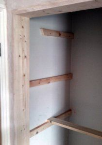 fix battens to the wall to support the slatted shelf