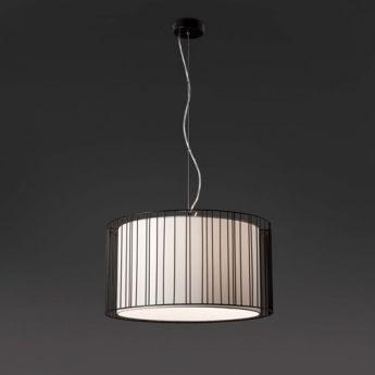 Suspension LINDA - Faro L'originalité de la suspension Linda réside dans sa conception : un  abat jour circulaire simple en tissu protégé par une grille métallique qui devient ainsi  un élément décoratif. Le contraste entre la grille métallique et le diffuseur en tissu situé à l'intérieur offre à la lampe un charme particulier. Lorsque le luminaire est allumé, toute la chaleur de la lumière est projetée vers l'extérieur à travers sa structure métallique.