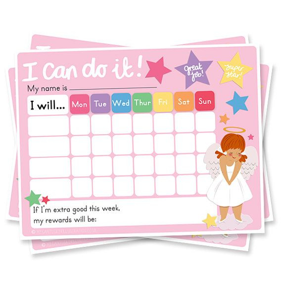 girls reward chart  chore chart  printable  sticker chart