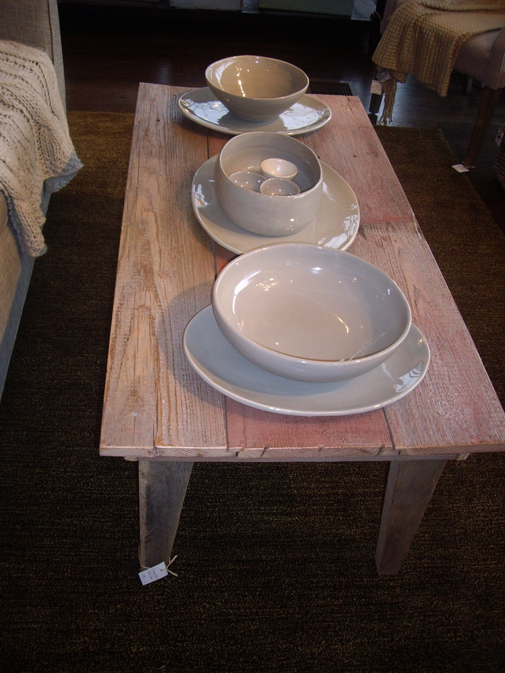 great coffee table we made from our old barnwood