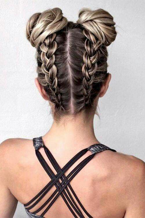 Inverted double dutch braids with buns