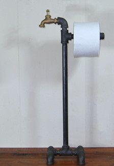 steampunk industrial machine ge floor stand porte papier wc avec robinet en laiton salle de. Black Bedroom Furniture Sets. Home Design Ideas