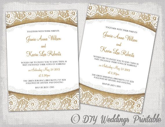 "Lace Wedding Invitation Template: Rustic Lace Wedding Invitation Template ""Burlap & Lace"