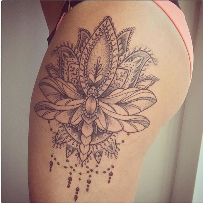 Beautiful lotus and dragonfly thigh piece done on instagram: Rebekah_Jonesy. Tattoo done by Instagram: Tommbirch