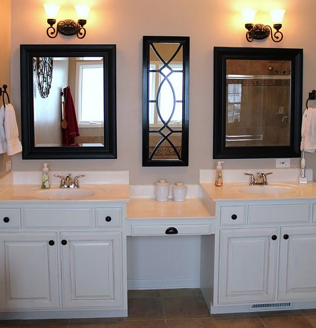 Black framed mirrors home is where the heart is for Master bathroom vanity mirrors