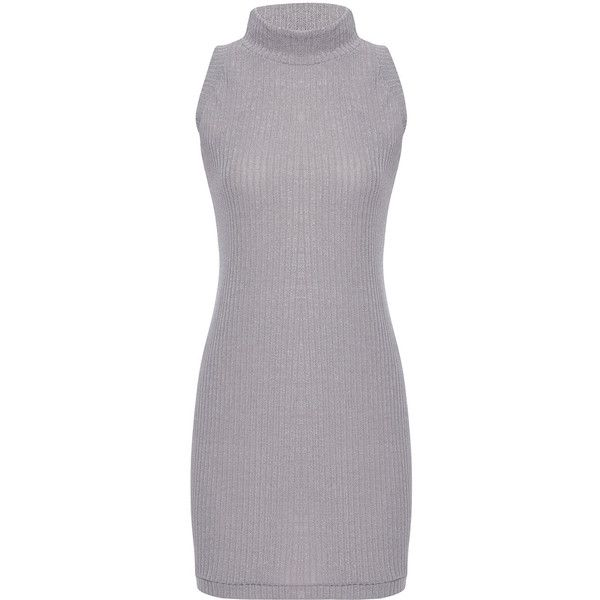 Yoins Grey Sleeveless Crew Neck Knitted Mini Dress ($16) ❤ liked on Polyvore featuring dresses, grey, short gray dress, sleeveless dress, short grey dress, no sleeve dress and mini dress