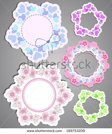 A collection of beautiful pastel paper frames with flowers and hearts for your design