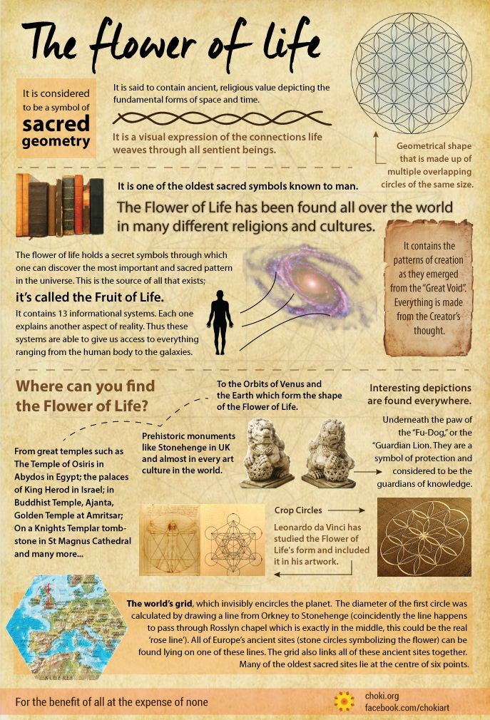The Flower of Life. It is a common symbol of many spiritual and religious teachings around the world and it is one of the oldest sacred symbols known to man.