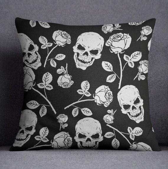 Skull Bedding Skull and Rose Print Comforter Cover by InkandRags