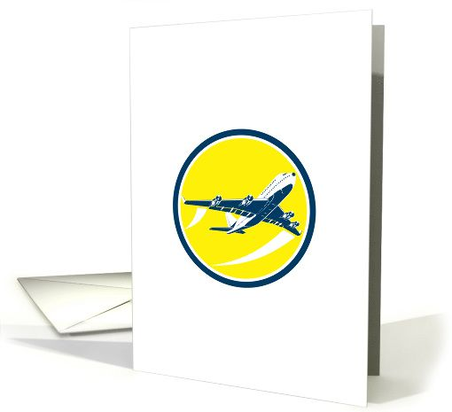 Commercial Jet Plane Airline Circle Retro card