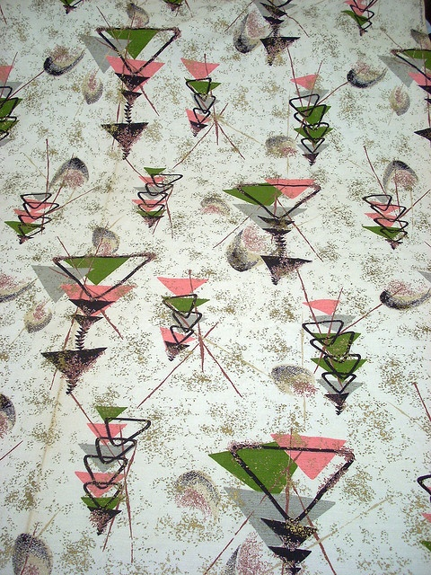 """1950s Barkcloth -Atomic Barkcloth - """"...[O]ften associated with 1940s-through-1960s home fashions, particularly in tropical, abstract, """"atomic"""" and """"boomerang"""" prints, the last two themes being expressed by images of atoms with neutrons whirling, and by the boomerang shape which was very popular in mid-century cocktail tables and fabrics."""" http://en.wikipedia.org/wiki/Barkcloth"""