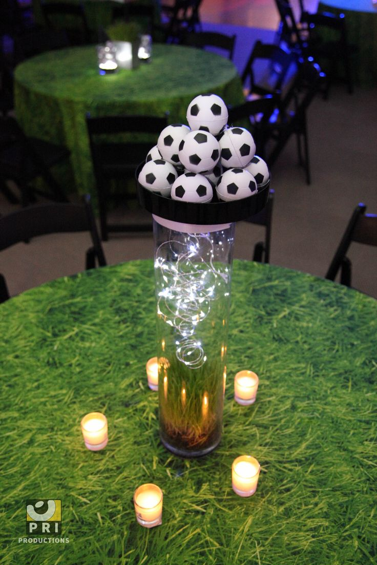 Fun soccer centerpiece for a sports themed bar mitzvah/bat mitzvah.