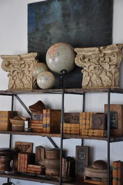 Cognac, Tan  Brown Books  Accesories on Rustic Shelves - Patina Style by Brooke and Steve Giannetti