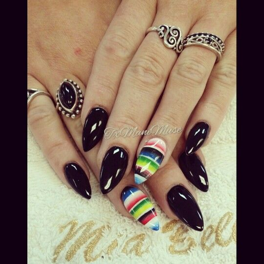 Fiesta Nails . Mexican Blanket Nails. Sarape Nails