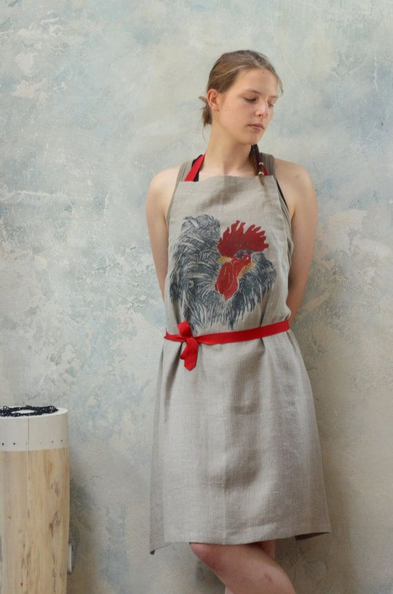 Aprons are made to protect your clothes. But we can give you something more! Recognising the signs of the future and trends, we offer you aprons that are useful, beautiful and ones that give you comfort of wearing something unique.  This novel graphics that you probably saw at first, was made with wooden, handmade stamp and with ecofriendly (but permanent) paint.  We sell this as a set with a linen towel and a linen sack that are stamped with the same pattern.  If one towel is not enough…