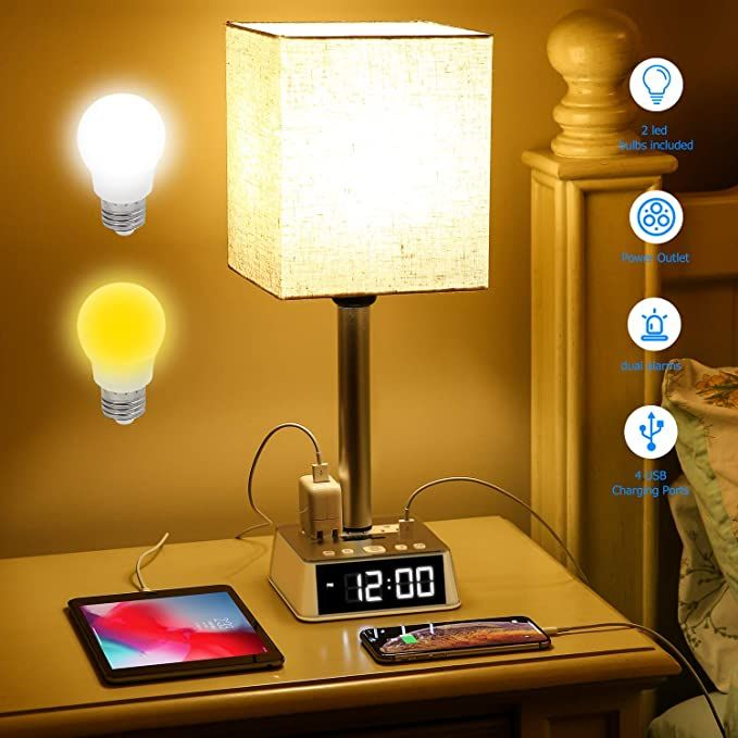 Table Lamp Bedside Table Lamps With 4 Usb Ports And Ac Power Outlets Alarm Clock Base W 6ft Ext In 2020 Nightstand Lamp Bedside Table Lamps Table Lamps For Bedroom