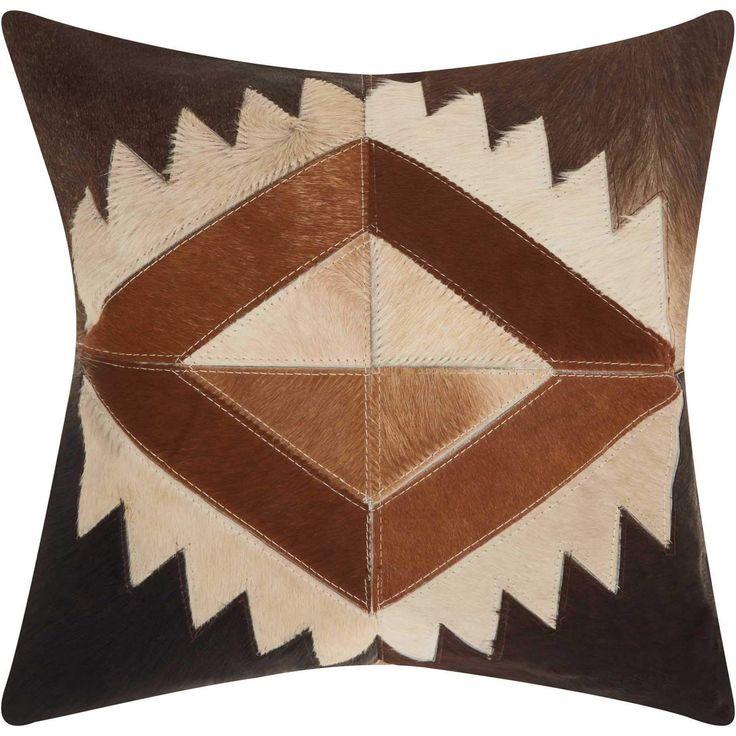 Mina Victory Dallas Southwestern Western Diamond Brown Throw Pillow