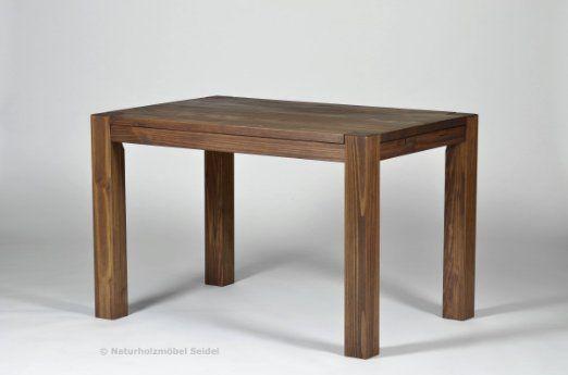 Esstisch ,,Rio Bonito,, 120x80cm, Pinie Massivholz, geölt und gewachst, Tisch Farbton Cognac braun, Optional: passende Bänke und Ansteckplatten