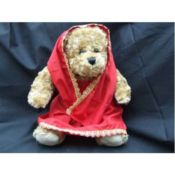 Saree Indian Princess Bear. This little cutie wears a beautifully made red saree with a gold trim. Can be worn in 2 ways; across the shoulder or over the head.