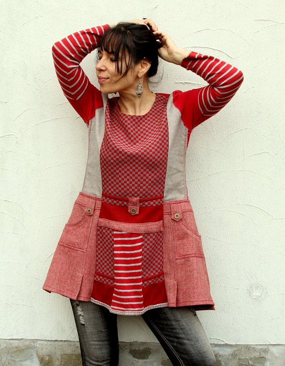 M-L Patchwork recycled  tunic dress boho style
