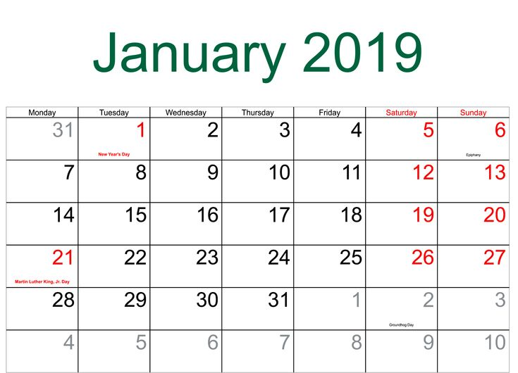 January 2019 Calendar With Holidays Manage Work January 2019