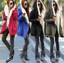Starlist mujer flacos engrosamiento de invierno Con Capucha larga artificial cuello de piel parkas de abrigo verde del ejército chaqueta abrigo largo negro(China (Mainland))