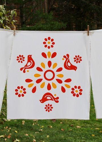Vintage Pyrex Friendship Pattern Tea Towel