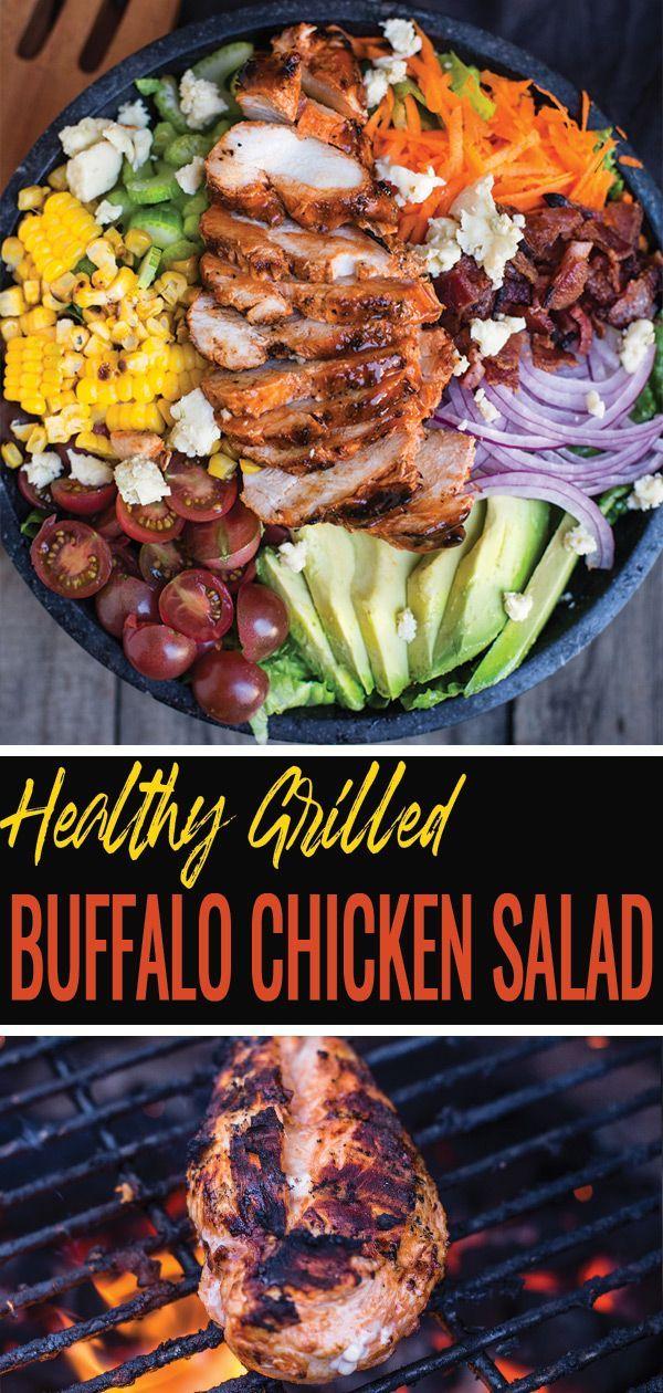 Gesundes Rezept mit gegrilltem Buffalo Chicken-Salat, das alle Ihre …  #alle #Buffalo #Chic…