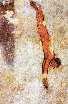 Italy - Lazio - Tarquinia (Viterbo) - Etruscan diver from Tomba della Caccia e della Pesca