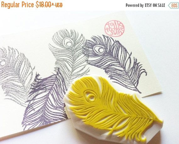 Peacock feather stamp. feather hand carved rubber stamp. bridal stamp. diy…