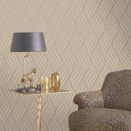 Maddox wavy wallpaper in gold 65262
