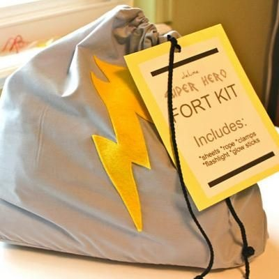 Fort Kit: Strong Kits, Birthday Presents, Glow Sticks, Gifts Ideas, Gift Ideas, Superheroes, Super Heroes, Kids Gifts, Heroes Forts