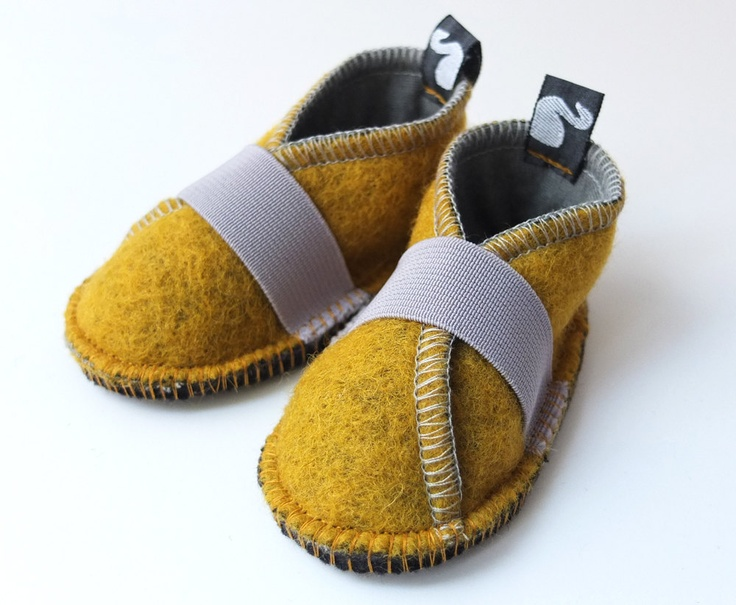 Toddler shoes, children clothing, wool felt and fleece, solar power yellow, graphite grey, felt booties, waldorf style, spring, 12m - 3T. €39.80, via Etsy.