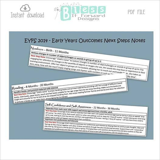 EYFS 2014 Early Years Outcomes Next Step Notes by BlessItForward