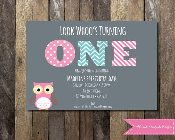 PRINTABLE Owl First Birthday Invitation - 1st Birthday Invitation - Look Whoo's One! - Owl Girls Birthday Party 4x6 or 5x7 on Etsy, $14.33 AUD