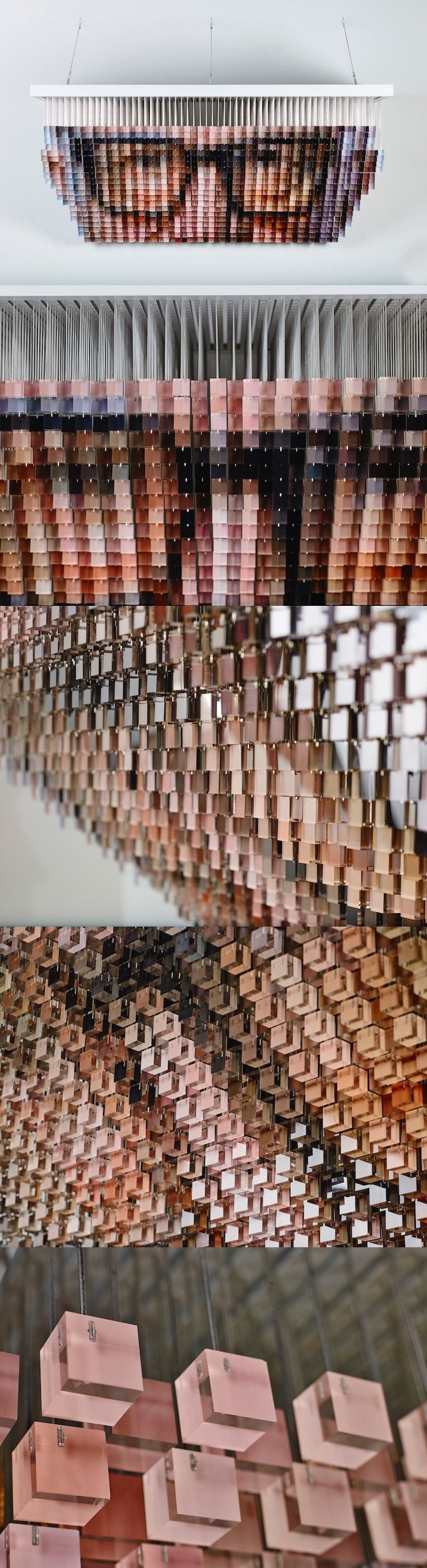 Artist Andrew Myers Suspends 1,200 Hand-Painted Cubes to Create a Pixelated Portrait