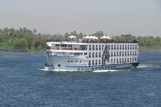 5-Day 4-Night Nile Cruise: Luxor to Aswan with Private Tour Guide Join this 5-day, 4-night cruise from Luxor to Aswan on the majestic Nile River. It's your time to relax and see all major sites in Upper Egypt, such as Luxor temple, Karnak temple at the East Bank of Luxor, You may also see The Temple of the two Gods Sobek and Haroeies in Kom Ombo, Philae temple, and the High Dam in Aswan.Day 1: Luxor. The local representatives will pick you up from the Luxor airport or Luxor tr...