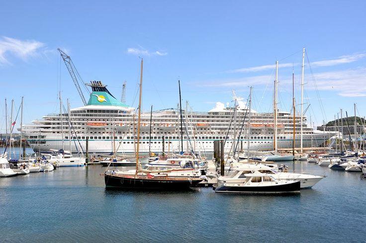 "LARGEST CRUISE SHIP EVER TO DOCK AT FALMOUTH   24 July 2013: 'The cruise ship ""Artania"" was originally christened ""Royal Princess"" by the late Diana, Princess of Wales. (pic. Falmouth pilot, David Barnicoat)     ✫ღ⊰n"