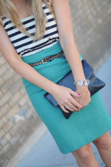 I can wear navy stripes with my green pencil skirt.: Fashion, Style, Pencil Skirts, Work Outfit, Turquoise Pencil, Stripes, Leopard