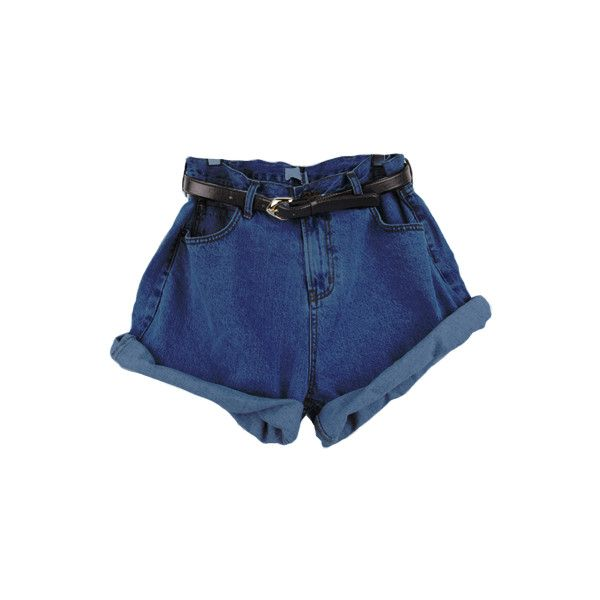 High Waist Shorts (£17) ❤ liked on Polyvore featuring shorts, bottoms, blue, high rise jean shorts, denim shorts, high-waisted shorts, high-rise shorts and high-waisted denim shorts