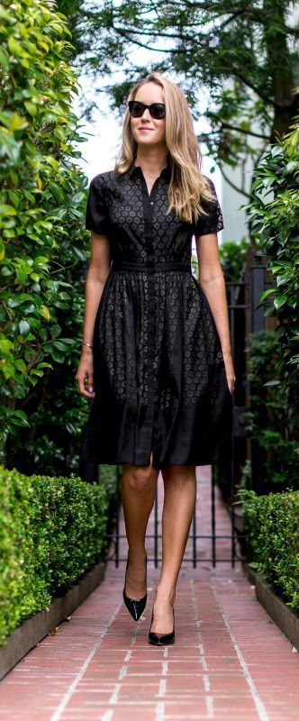 black collared fit and flare shirt dress with floral laser cut outs + the best classic black patent leather pointed toe pumps {erin featherston colette, sjp collection}